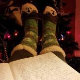 Socks by the fire and Christmas tree